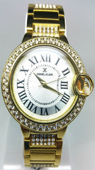 Analog Diamond & Golden Case Watch - Gold