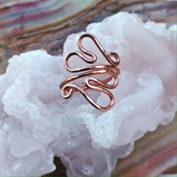 Double Heart Ring, Hammered Heart Ring, Adjustable Copper Ring - Desert Shine Designs