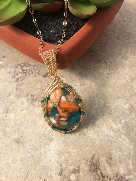 Spiny Oyster Pendant Necklace Wire Wrapped with Gold Filled Wire - Desert Shine Designs