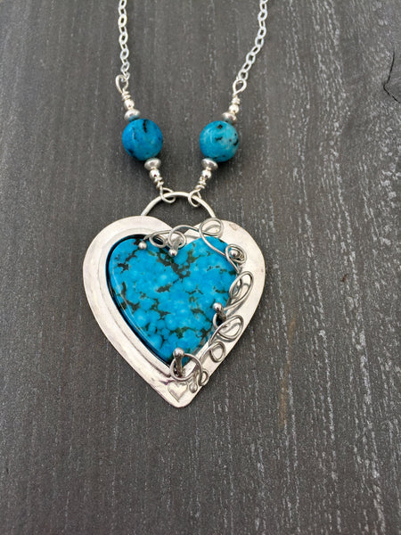 Kingman Turquoise Heart Pendant Necklace - Desert Shine Designs