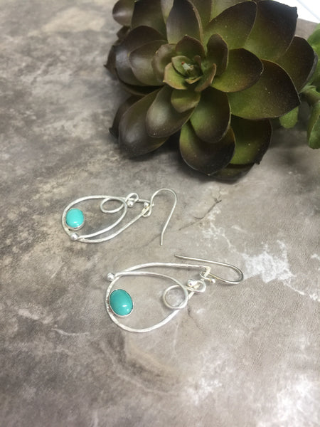 Turquoise Drop Earrings in Sterling Silver Wire - Desert Shine Designs
