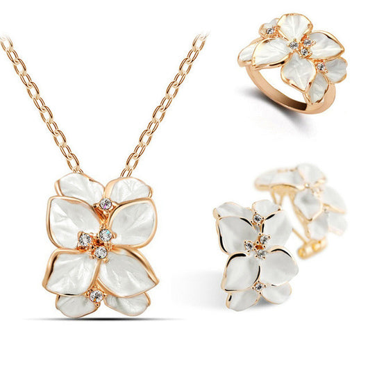 Leaf Necklace, Ring and Earrings Set - Shopichic
