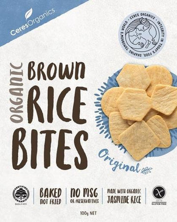 Ceres Organics Organic Brown Rice Bites Original G/F 100g Box