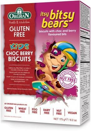 Orgran Kids Itsy Bitsy Bears Choc Berry Biscuits G/F 175g