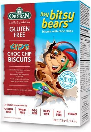 Orgran Kids Itsy Bitsy Bears Choc Chip Biscuits G/F 175g