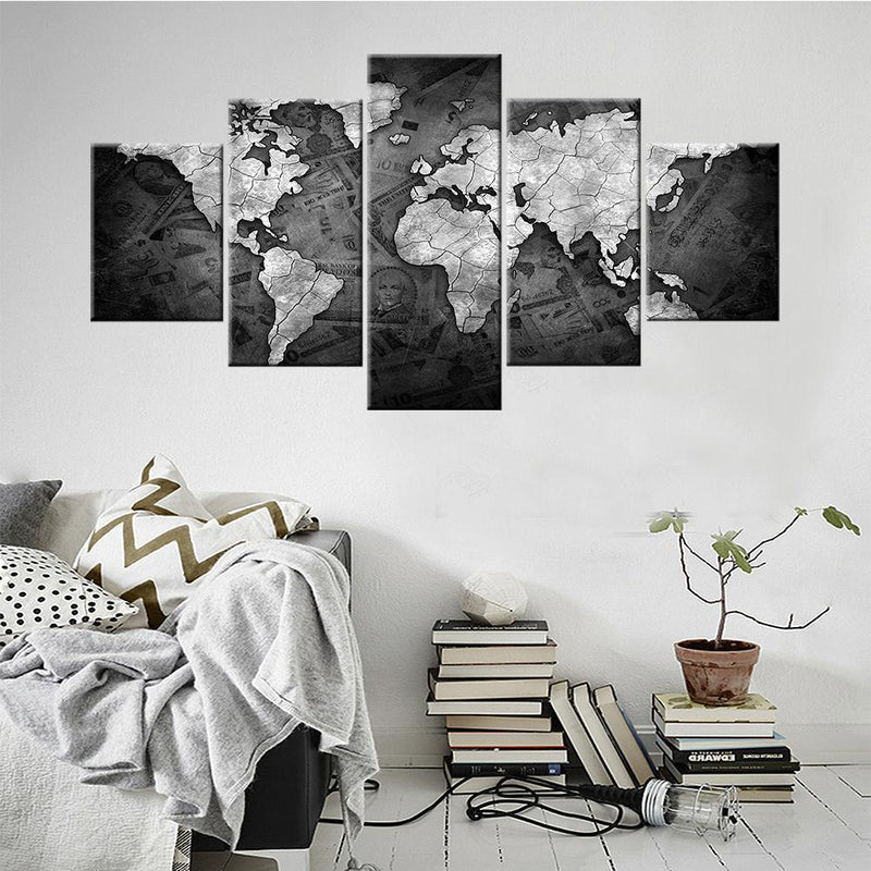 World Map in black & white Canvas Set