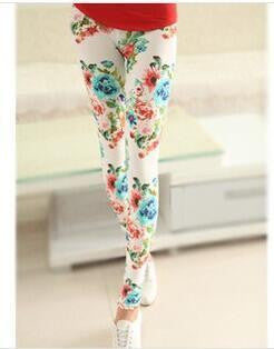 21Hot selling High Elastic Design Vintage graffiti Leggings Floral patterned Print Leggins For Women Free Shipping Leggins Sale