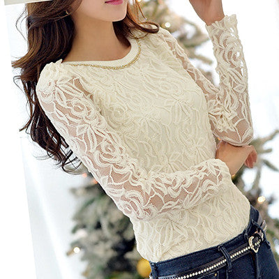Womens Plus Size Long Sleeve White Body Lace Chiffon Shirt