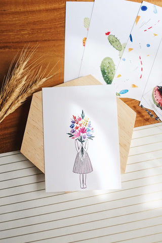 Girl with a Bouquet | Postcard by Kristen Kiong - hello flowers!