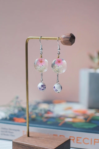 Dried Flower Dangle Earrings (Pink V.2) | Earrings by X - hello flowers!