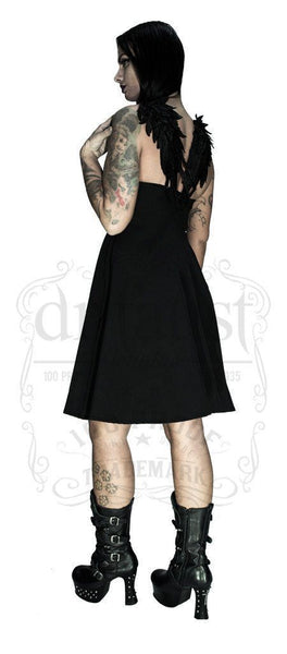 Black Wings Raw Silk Midi Dress - Angelique - Dr Faust