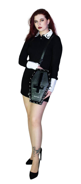 Black Patent Inverted Cross Vegan Leather Coffin Bag - Petra - Dr Faust