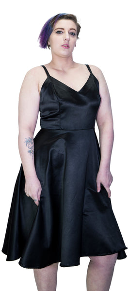 Black Wings Raw Silk Plus Size Midi Dress - Angelique - Dr Faust