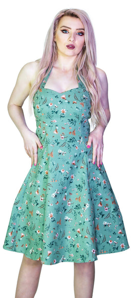 Bronze Flowers Vintage Green Midi Dress - Cassandra - Dr Faust