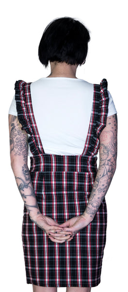 Dark Tartan Checked Pinafore Dress and T-Shirt Set - Romina - Dr Faust