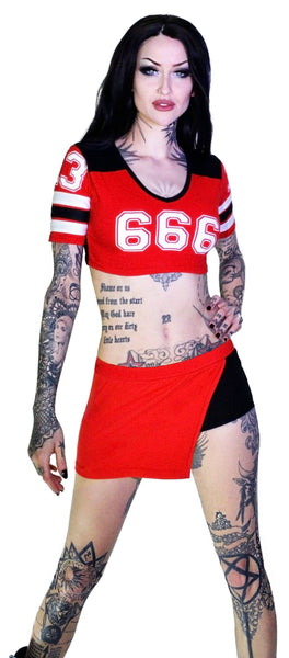 Devil's Team 666 Cheerleader Red Top Shorts Set - Gretchen - Dr Faust