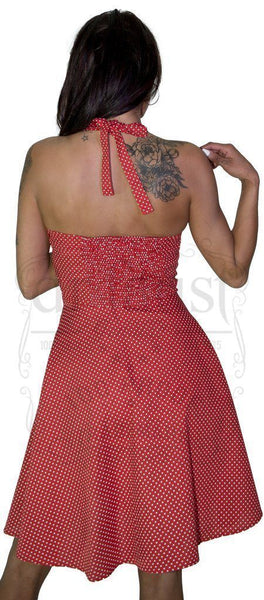 White Polka Dot Blush Red Midi Dress - Thalia
