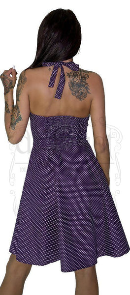 White Polka Dot Ultra Violet Midi Dress - Thalia