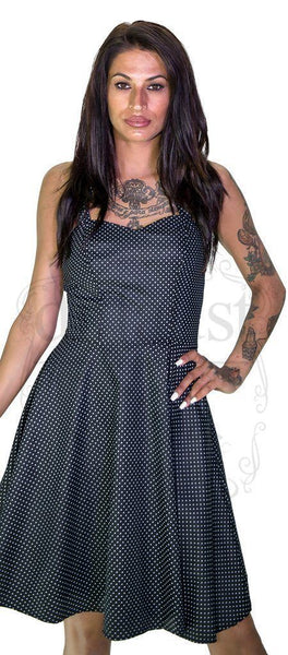 White Polka Dot Raven Black Midi Dress - Thalia
