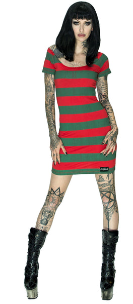Freddy Krueger Style Red and Green Mini Dress - Aubrey - Dr Faust
