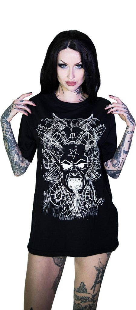 Horned Baphomet Nu Goth Black Demon T-Shirt - Damon - Dr Faust