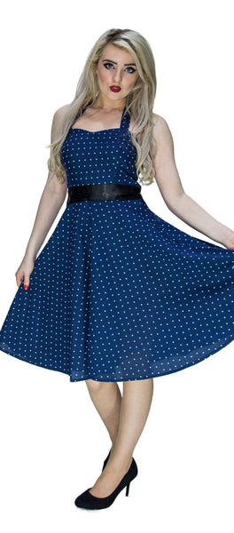 White Stars Navy Midi Dress - Kate
