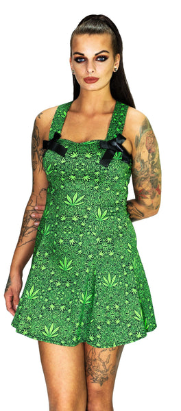 Marijuana Leaf Green Mini Dress - Stella - Dr Faust