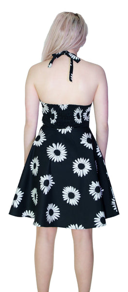 Monochrome Sunflower Halterneck Black Mini Dress - Alizon - Dr Faust
