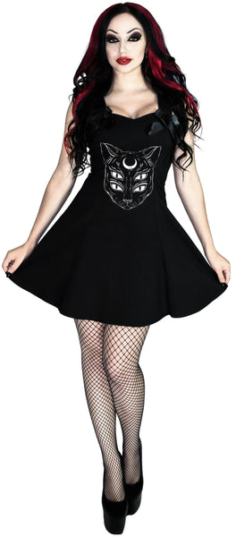 Moon Cat Little Black Mini Dress - Katriane - Dr Faust