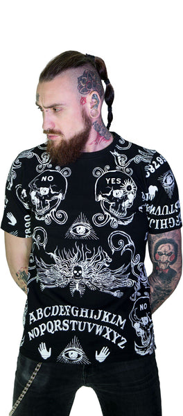 Ouija Board All Over Print Nu Goth Black T-Shirt - Mack - Dr Faust