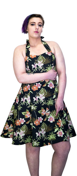 Palm Trees and Exotic Flowers Black Plus Size Retro Midi Dress - Marrama - Dr Faust