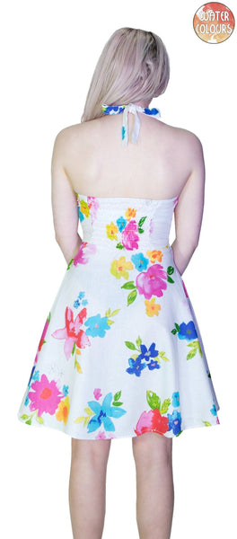 Pastel Flowers White Mini Dress - Armelle - Dr Faust