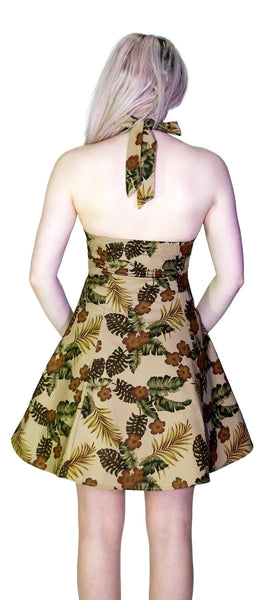 Peanut Brown Flowers Vintage Mini Dress - Joan - Dr Faust