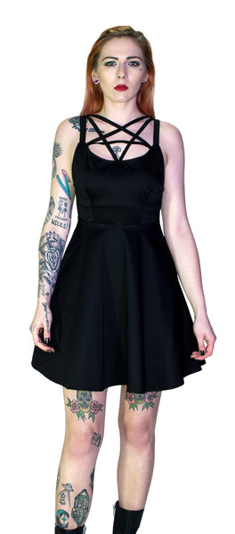 Pentagram Strap Black Mini Dress - Tamsyn - Dr Faust