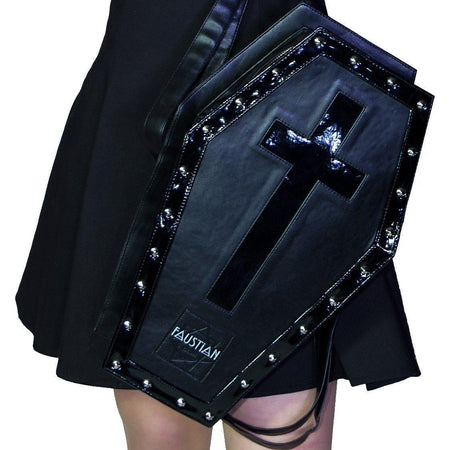 Shining Black Patent Cross Large Vegan Leather Coffin Bag - Iva - Dr Faust