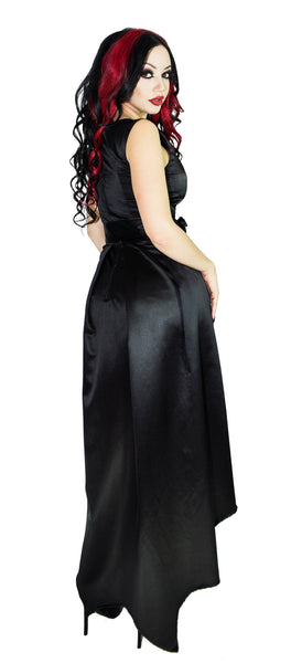 Silver Pentagram Buttons Raw Silk Black High-Low Dress - Amina - High-Low Dress