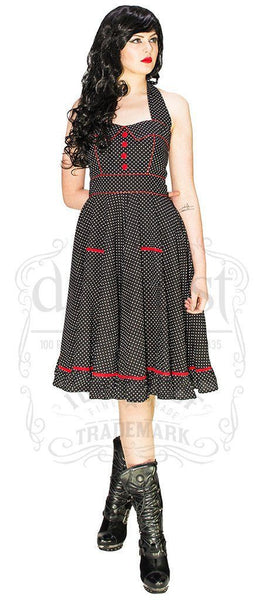White Polka Dot Black Midi Dress - Grace
