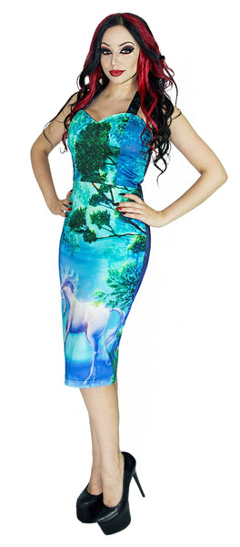 Unicorn in an Enchanted Forest Midi Dress - Inorog
