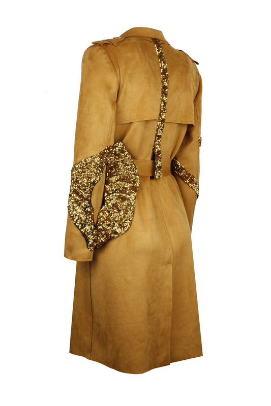 Suede Trenchcoat Embellished With Sequin Lip