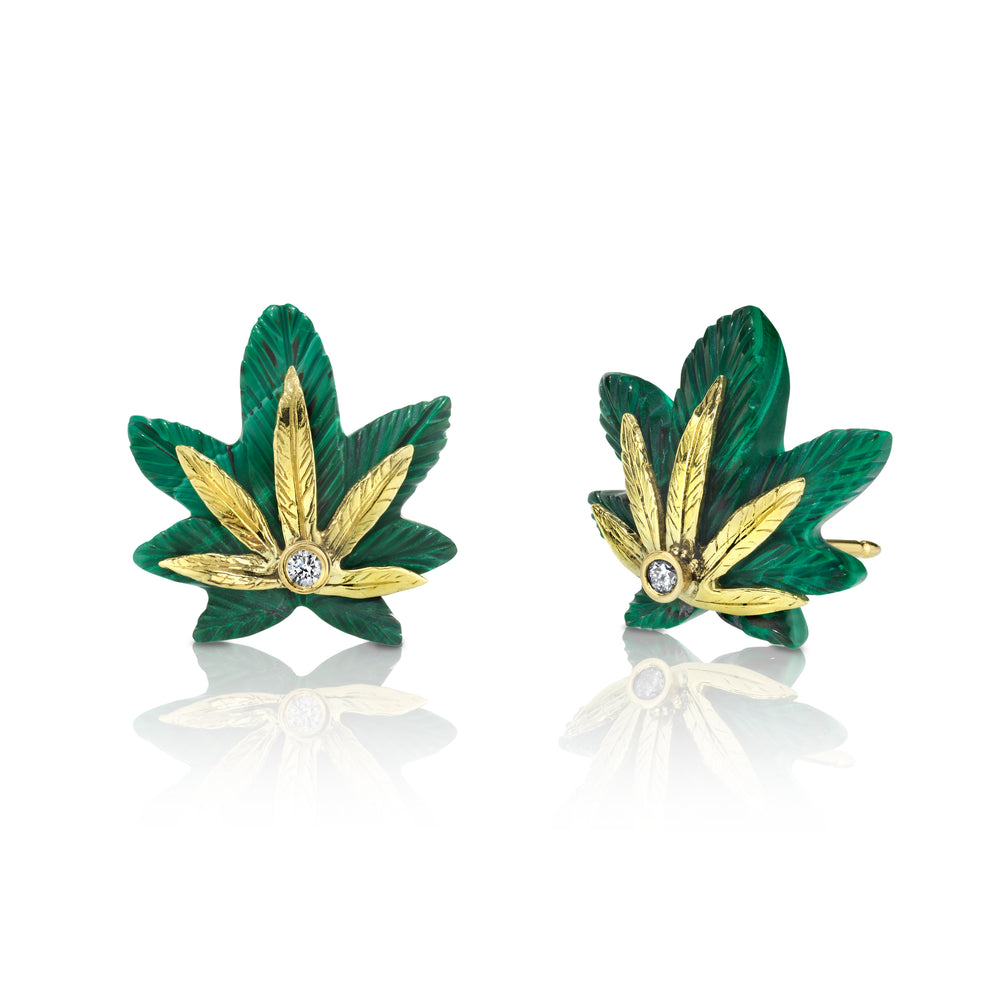Extra Small Cannabis Stud Earrings