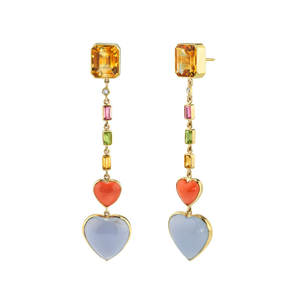 Citrine & Double Heart Drop Earrings
