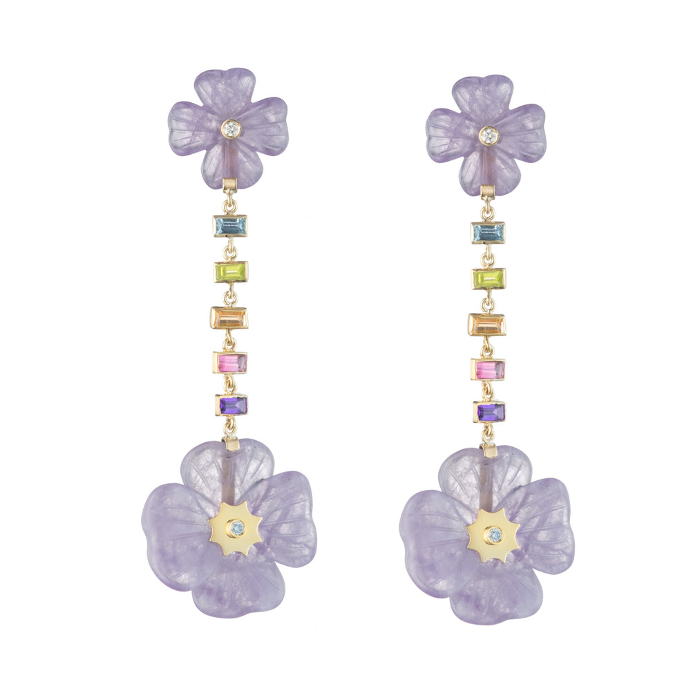 Double Clover Rainbow Gemstone Drop Earrings