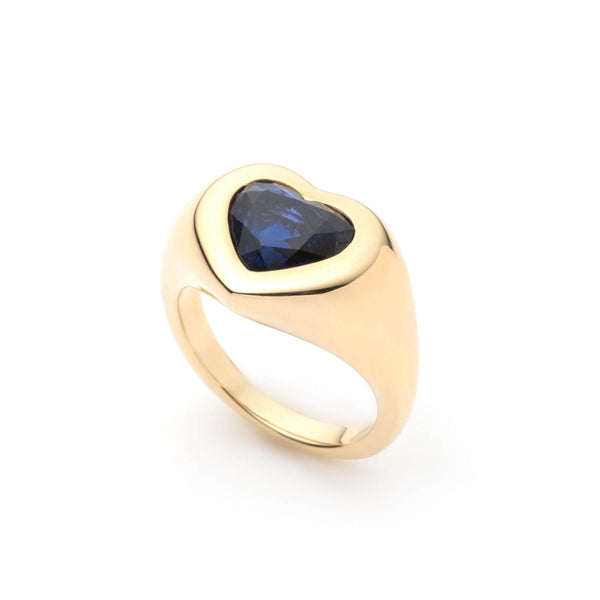 Blue Sapphire Heart Gypsy Ring