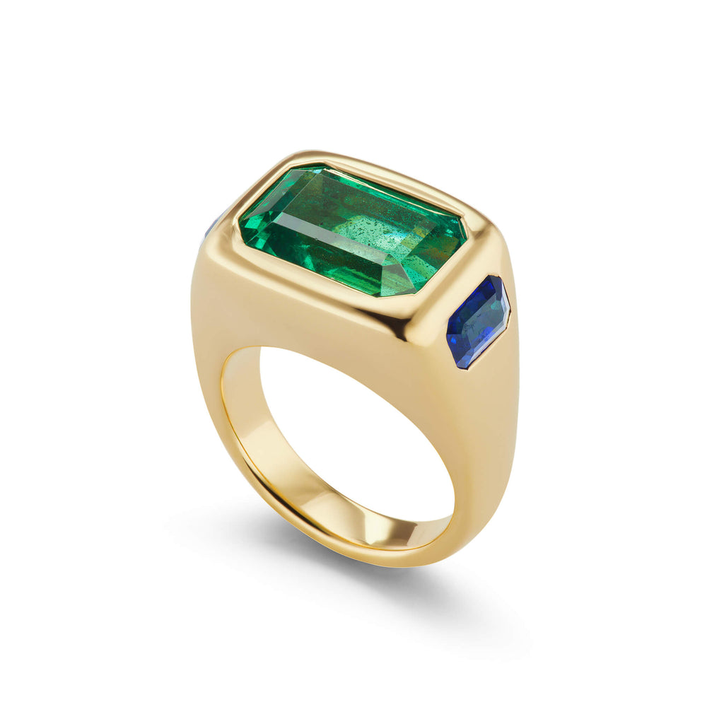One-of-a-Kind Emerald and Sapphire Gypsy Ring