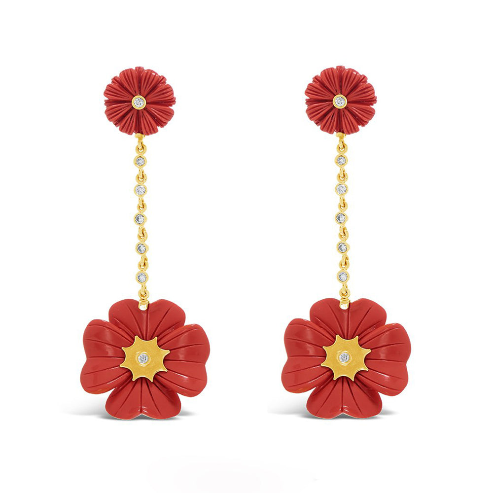 Wildflower & Clover Bezel Set Diamond Drop Earrings