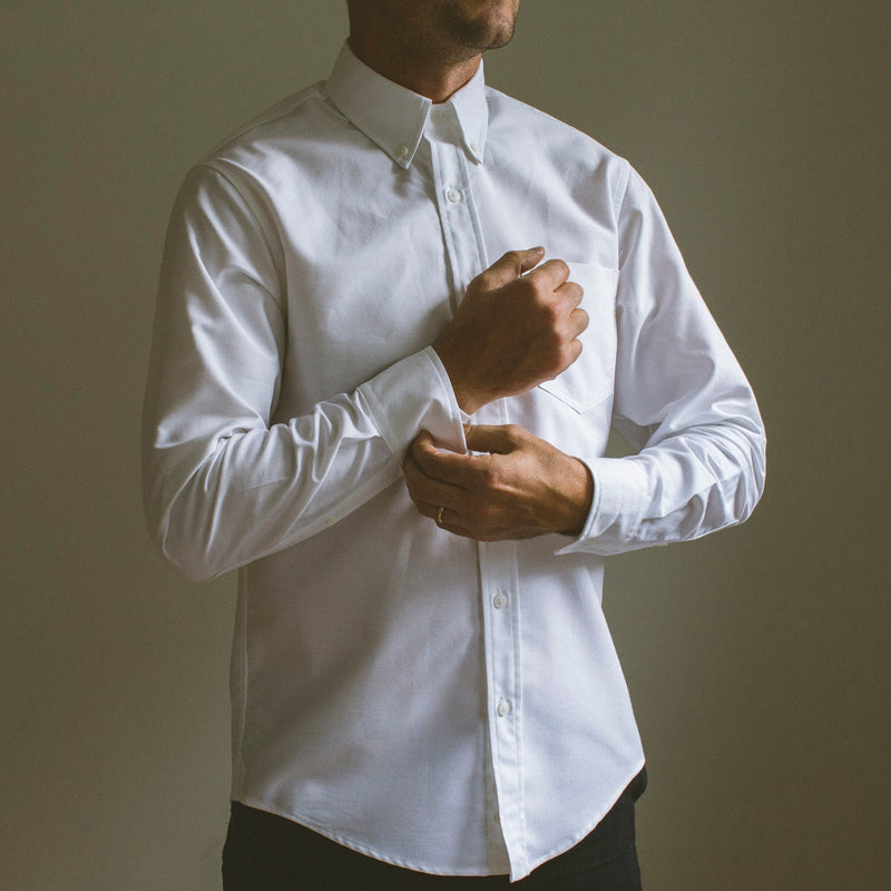 angle hover: white oxford  A Raleigh Denim Workshop patch pocket in white oxford