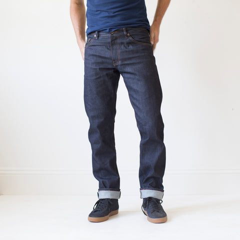 angle: 319 raw | Raleigh Denim Workshop Alexander work fit jeans raw in blue, front flat view