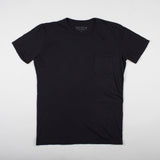 angle hover: black  Raleigh Denim Workshop cotton/modal pocket crew neck tee in black