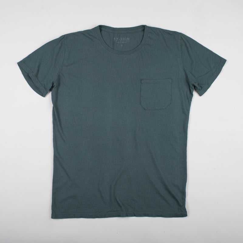 angle hover: juniper  Raleigh Denim Workshop cotton/modal pocket crew neck tee in green juniper