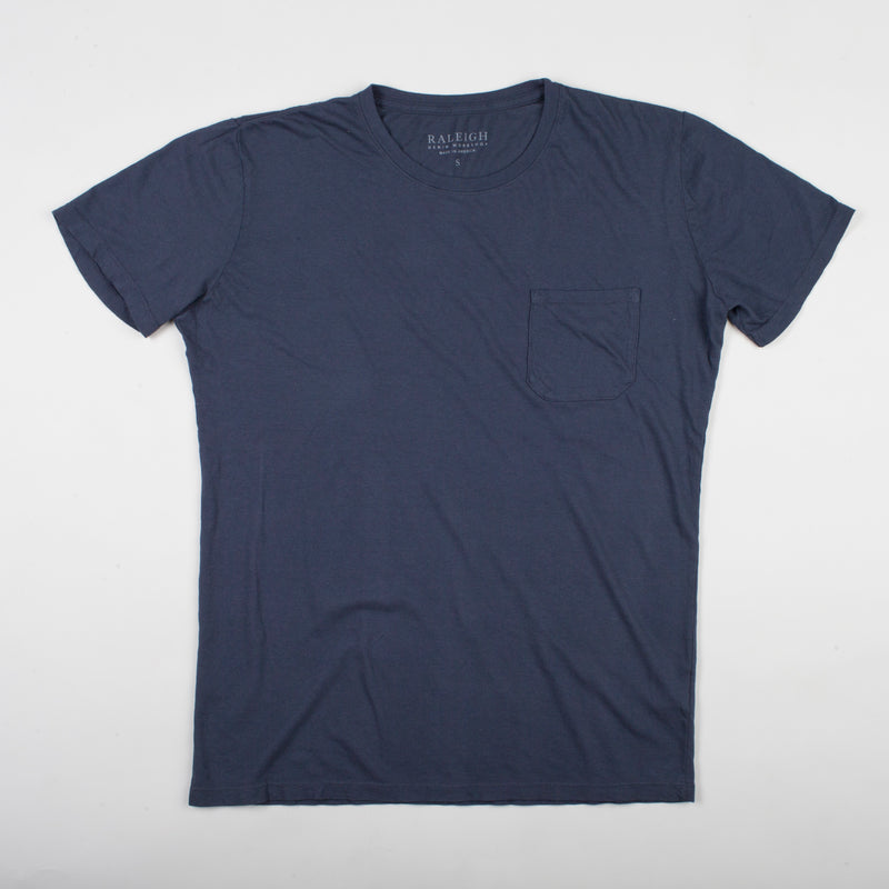 angle hover: dark fathom  Raleigh Denim Workshop cotton/modal pocket crew neck tee in navy blue dark fathom